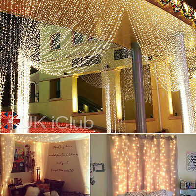 3x3M 300 White LED Light Curtain String Fairy Lights Xmas Wedding Party Decor