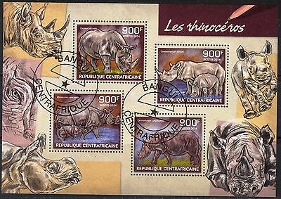 Central African Republic 2014 Animals Rhinoceros Sheet of 4 used