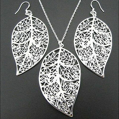 Lady 925 Silver Plated Fashion Jewelry Leaf Earrings & Leaf Pendant Necklace Set