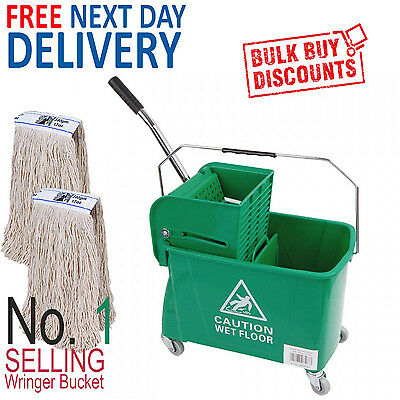 Green Kentucky Mop Bucket And Wringer Plus 2 x Kentucky Mop Heads