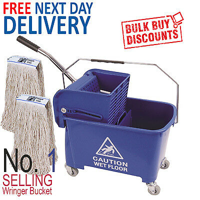 Blue Kentucky Mop Bucket And Wringer Plus 2 x Kentucky Mop Heads