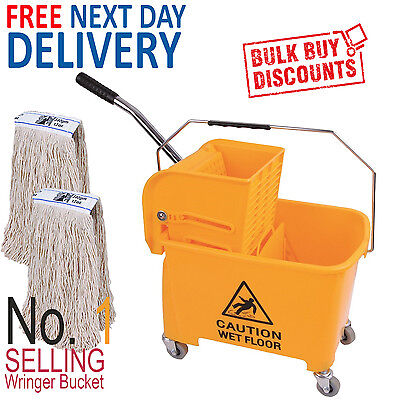Yellow Kentucky Mop Bucket And Wringer Plus 2 x Kentucky Mop Heads