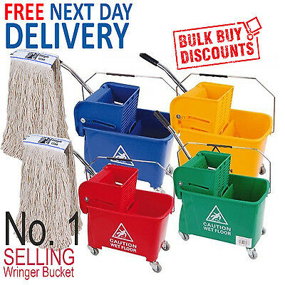 Kentucky Mop Bucket Wringer & 2 Mop Heads Traditional Industrial Office Mopping