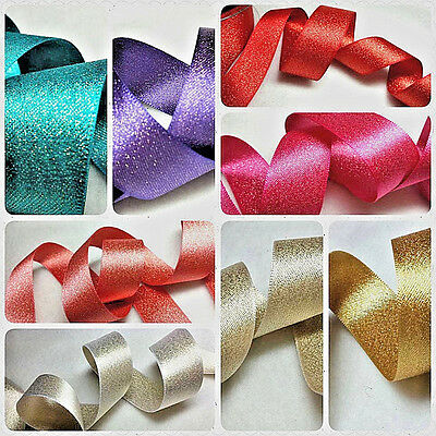 25,15mm x 1m BERISFORDS,GLITTER SATIN WITH GOLD SPARKLE RIBBON,CRAFT,CHRISTMAS