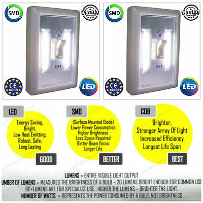 2x LED BATTERY OPERATED SWITCH NIGHT LIGHT CHILDRENS BEDROOM WALL SELF ADHESIVE