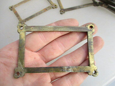 Antique Brass Index Card Holder Drawer Hardware Vintage Church Salvage Old  M&P