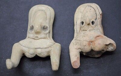 Pair Of Indus Valley Fertility Idol Torsos From The Harappa Culture 3300-1200 Bc