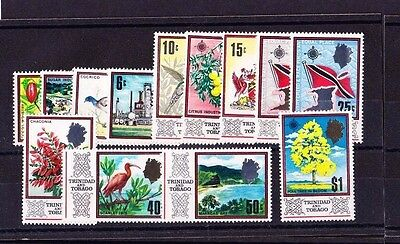 TRINIDAD & TOBAGO 1969-72 SET ON GLAZED PAPERS SG 339a-352b MNH.