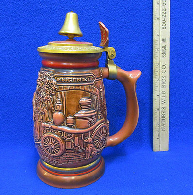 Avon Beer Stein Tribute to American Firefighters Mug Bell on Lid 1989 Fire Dept
