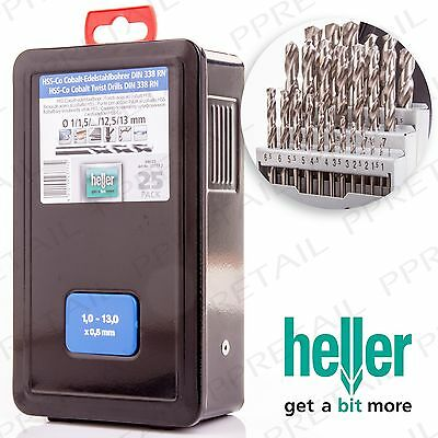 Heller Of Germany 25Pc HSS CO COBALT DRILL BIT SET IN CASE Fast Metal Drilling