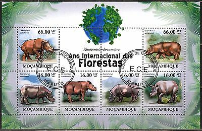Mozambique 2011 Animals Rhinoceros sheet of 6 used