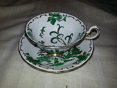 Vintage Royal Chelsea England PEKIN Green Williw cup & saucer