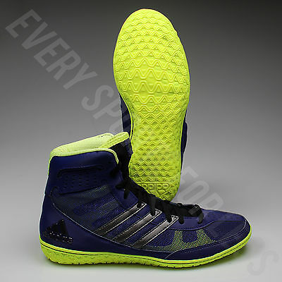 Adidas Mat Wizard Wrestling Shoes S77967 - Navy/Silver/Lime (NEW) Lists @ $105