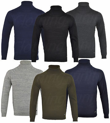 Mens Cotton Rich Roll Turtle Polo Funnel Neck Jumper Fine Knitted Winter Top