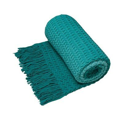 LOGAN & MASON Ombre Turquoise Knitted Throw Rug 127 x 152cm ULTIMA COLLECTION