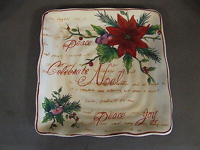 """Noel Poinsettia And Holly Square Christmas Pottery Plate 9"""""""