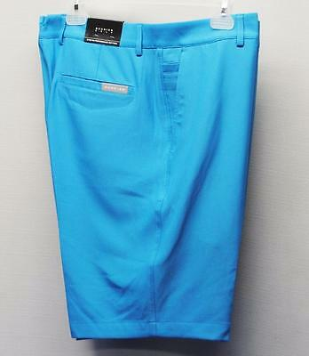 New Mens Size 34 Dunning Golf Stretch Performance poly/spandex light blue shorts