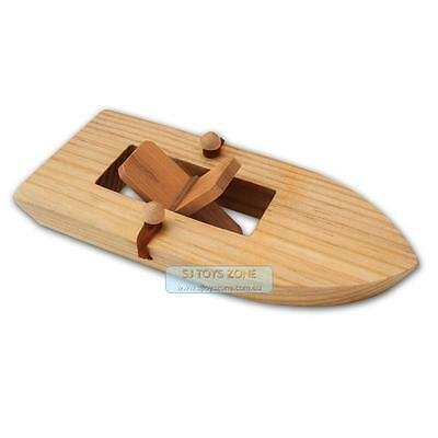 Fun Factory Wooden Paddle Boat Powered by Rubber Band Great Bath Toy Water Play