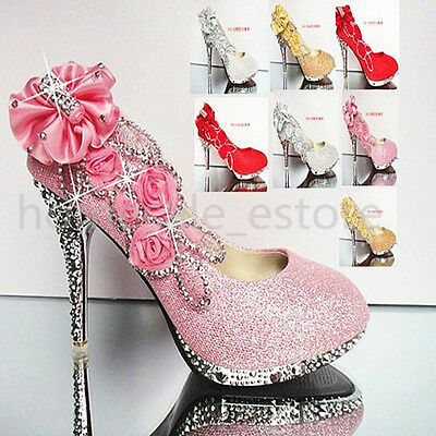 Wedding Bridal Glitter Crystal Flower Evening Party Women High Heels Shoes