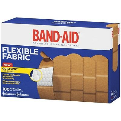 Band-Aid Johnson & Johnson Band-Aid, Flexible Fabric, 100-Count Boxes, New