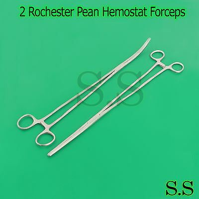 """2 Rochester Pean Hemostat Forceps 18"""" Straight+Curved Surgical Instruments"""