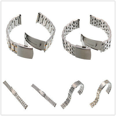 18/20/22mm Solid Stainless Steel Deployment Clasp Watch Strap Band Bracelet New