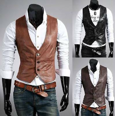 Mens Leather Slim Formal Casual Business Suit Vest Tuxedo Waistcoat Jacket Tops