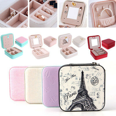 Cosmetic Leather Jewelry Box Necklace Ring Travel Storage Case Organizer Display