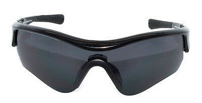 Wrapz SWIFT Cricket  Sunglasses BLACK Full Wrap with Grey Lens