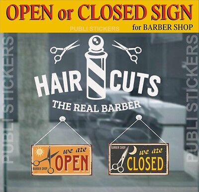 "Barber Shop Sign ""open-Closed"" Vintage Style Hair Cuts"" Targhetta""aperto-Chiuso"""