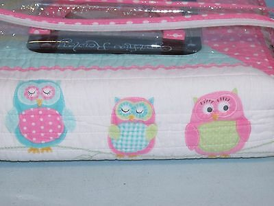 New Cynthia Rowley Twin Quilt Pink Owls Hoot Floral Polka Dots Reversible Cotton