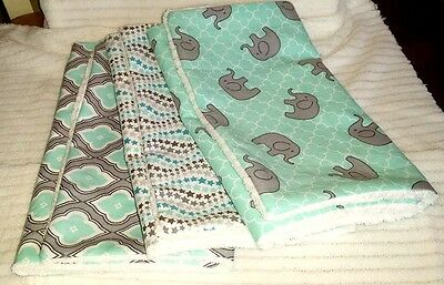 Chenille Burp Cloths, Gender Neutral designer fabric, Set of 3- FREE SHIPPING!
