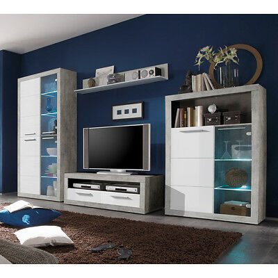 mediawand air medienwand in wei glanz und beton grey inkl led tv wand wohnwand eur 398 95. Black Bedroom Furniture Sets. Home Design Ideas