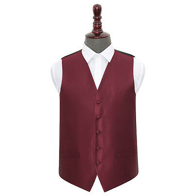 DQT Woven Plain Solid Check Burgundy Formal Mens Wedding Waistcoat S-5XL