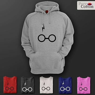 Harry Potter Inspired Hoodie With Glasses and Scar Decal S-5XL All Colours