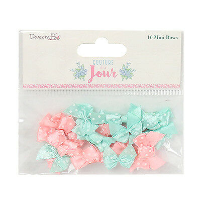 16 Couture De Jour Peach Mint Mini Ribbon Bows Card Making Craft Embellishments