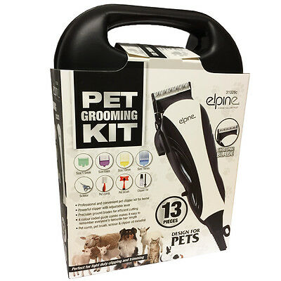 13Pc Professional Pet Hair Clipper Animal Grooming Kit Dog Cat Fur Trimmer Shave