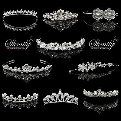 Shmily Hochzeit Perle Strass Diadem Tiara Haarreif Haarschmuck new collection