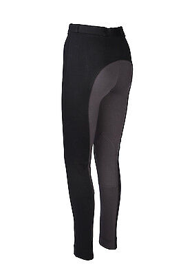 Soft Stylish Two Tone Women Ladies Horse Riding Jodhpurs Jods Jodphur Black Grey