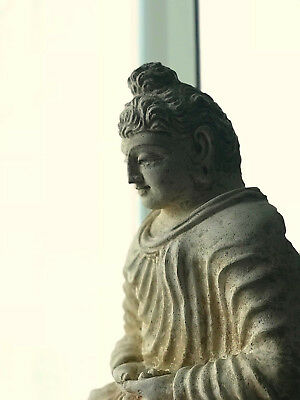 Authentic 6th Century A.D. Gandhara Large Seated Buddha Statue, Stucco