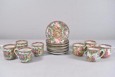 Early 20Th Cent Set  8 Demitasse Cups/Saucers Chinese Rose Medallion + 1 Saucer