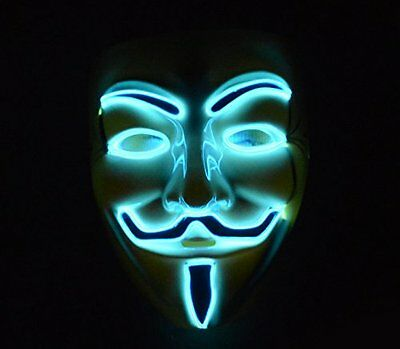 Anonymous Guy Fawkes Mask Halloween Cosplay LED Light Up Costume Blue Lights NEW