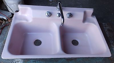 Vtg Mid Century Cast Iron Pink Porcelain Retro Kitchen Sink Old Crane 1794-16