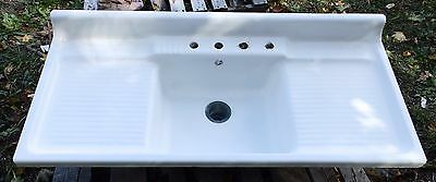 Vintage Cast Iron White Porcelain Double Drainboard Old Kitchen Sink 1795-16