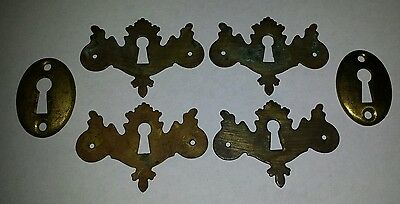 Lot of 6  ANTIQUE KEY HOLE ESCUTCHEONS, Keyhole,Furniture,Door,Ornate