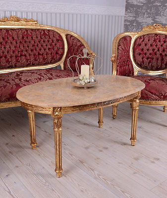 Living Room Furniture Baroque Sofa Set Marble Table Lounge Suite Antique Chair