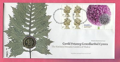 Great Britain Royal Mint 2000 Fdc £1 Coin Cover Botanic Garden Of Wales
