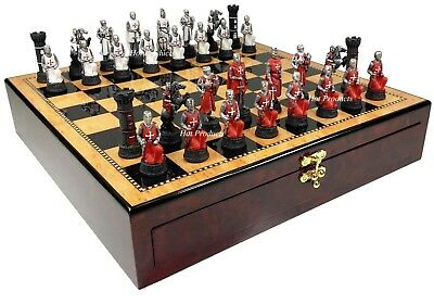 MEDIEVAL TIMES CRUSADES WARRIOR Red & White CHESS SET Walnut Color STORAGE BOARD