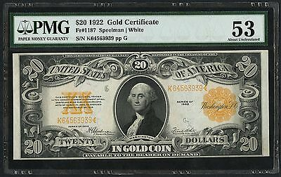 Fr1187 $20 1922 Gold Certificate Speelman / White Pmg 53 About Unc Wlm2166