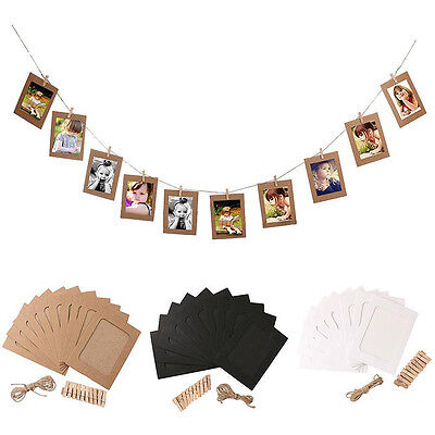 "10 Set DIY Wall Picture Paper Photo Hanging 6"" Frame Album Rope Clip Decoration"